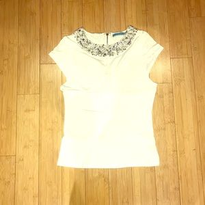 Alice & Olivia Bejeweled Collar T Shirt